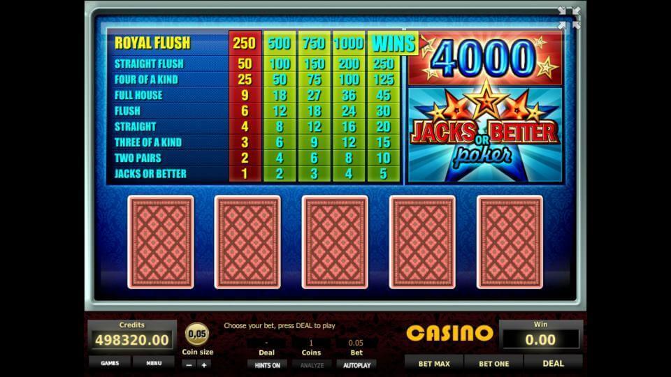 Изображение игрового автомата Jacks or Better Poker 1