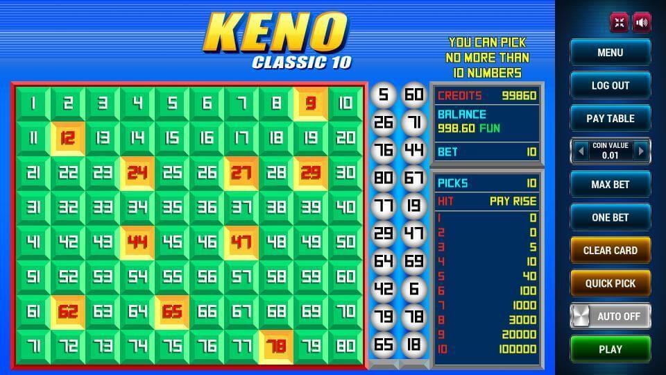 Изображение игрового автомата Keno Classic 10 2