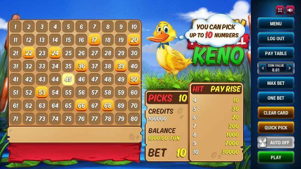 Изображение игрового автомата Ducky Keno Powerball 2
